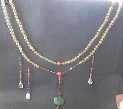 Ancient Chinese crystal Bead Mandarin Court Necklace long 43 inch