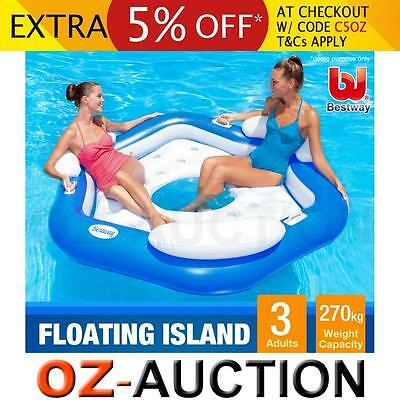 Bestway Extra Large 3-Person Inflatable Island Lounger Floating Pool Lake Beach