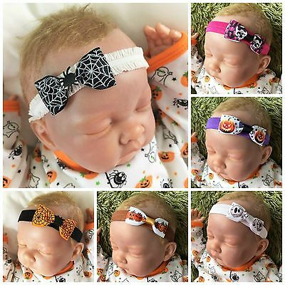 Baby Girl Single Bow Headbands Spider Pumpkin Skull Print Halloween