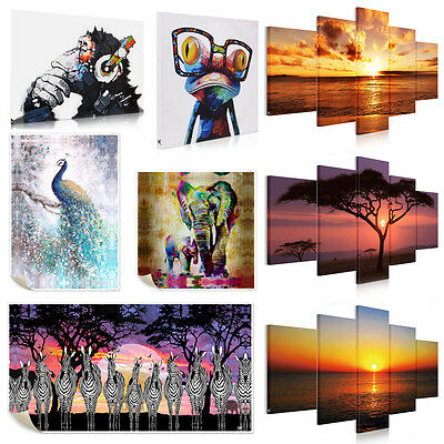 Unframed Canvas Prints Modern Home Decor Wall Art Picture -Zebra Peacock Sunrise