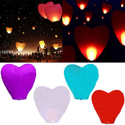 5XHeart-Shape Sky Fire Lanterns Kong Ming Flying Floating Lucky Wishing Lantern