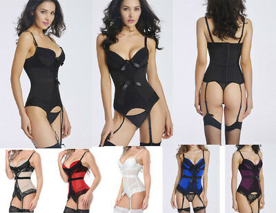 Sexy Elastic Underwire Padded Bra Hook Up Corset Bustier Top With Garters--5503