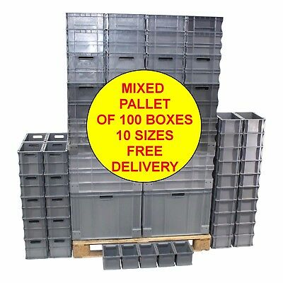 NEW Mixed Pallet Of 100 Heavy Duty Plastic Storage Containers Box Boxes 10 Sizes