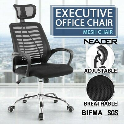 High Back Executive Office Computer Chair Breathable Mesh Cushions Support Seat