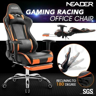 PU Leather High Back Sport Gaming Racing Seat Office Computer Chair w/ Recliner