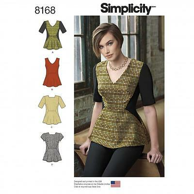 Simplicity SEWING PATTERN 8168 To Make Misses Peplum Top 6-14 Or 14-22