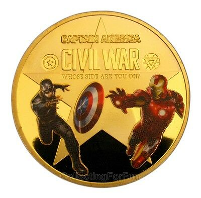 Captain America 3: Civil War & Iron man Colored 24K Gold Plated Coin Token
