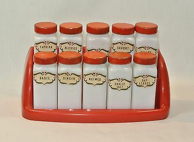 Vintage Griffith's SPICE JAR Set of 10 with RED Lids and Rack Stand