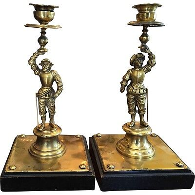 Superb Pair of Antique Italian Bronze Figural Candlesticks
