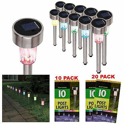 Colour Changing Stainless Steel Solar Powered Post Lights Garden Lanterns