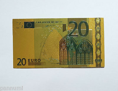 Colourised 20 EURO 24K Gold Plated Banknote (only banknote)