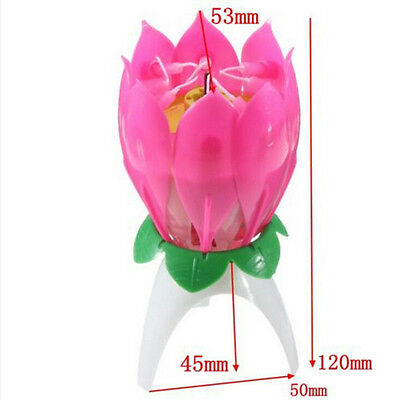 Musical Charming Lotus Flower Rotating Happy Birthday Party Gift Lights Candle b