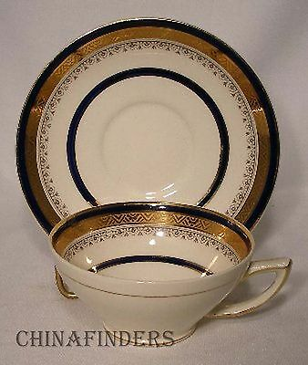 MYOTT staffordshire The CROWNING HW324 Cobalt CUP and SAUCER Set Crazed