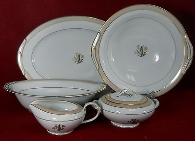 NORITAKE china AVON 5531 Six (6) Piece Hostess Set Round Oval Bowl Platter Sugar