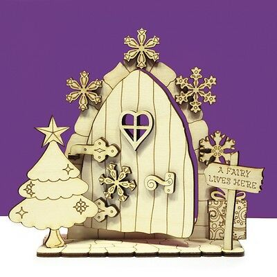 Christmas Opening Fairy Door 3D Snowflake Tree Wooden House Elf Plywood  OCFD3