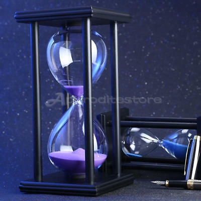60 Minutes Wood Sand Fashion Glass Hourglass Timer Clock Home Office Decor Gift
