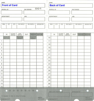 (300) Time Cards for uPunch HN2000 / HN4000 / HN4500 / HN6000 (HNTC Compatible)