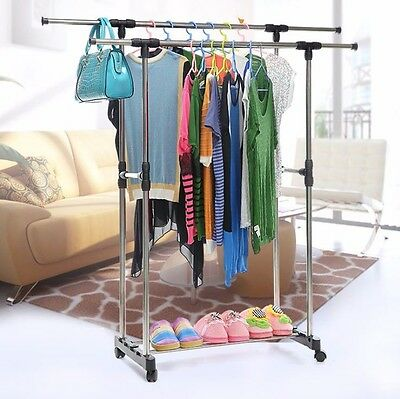 Heavy Duty Collapsible Adjustable Cloth Rolling Double Garment Rack Hanger