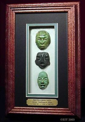 Museum Cast of 3 PreColumbian Carved AMULET FACES- from OLMEC, MAYA, TEOTIHUACAN