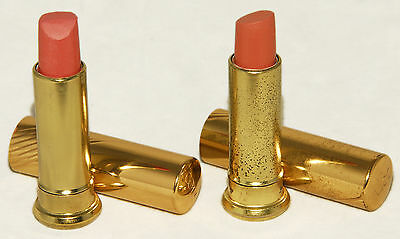 COTY - SET of 2 - VINTAGE Creme Lipsticks Apricot Honey & Clay Pink - Gold TUBE