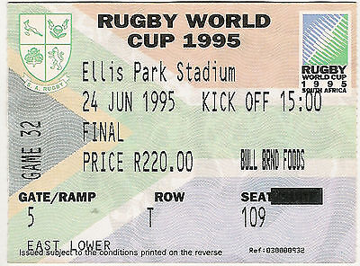 South Africa v New Zealand  24 Jun 1995 Jo'burg RUGBY WORLD CUP FINAL TICKET