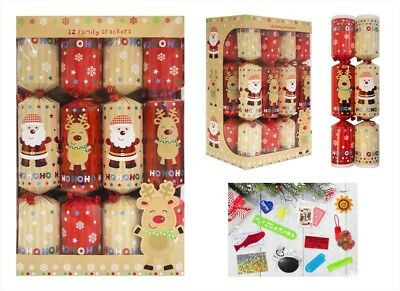 Pack Of 10 Family Christmas Crackers 30cm x 5cm Red White - Cute Santa & Rudolph