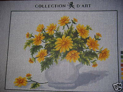 Yellow Flowers Tapestry Needlepoint Canvas