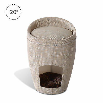 Pet House Cat Tree Condo Sleeping Bed Furniture Sit Hide Linen w/ Padded Mat New