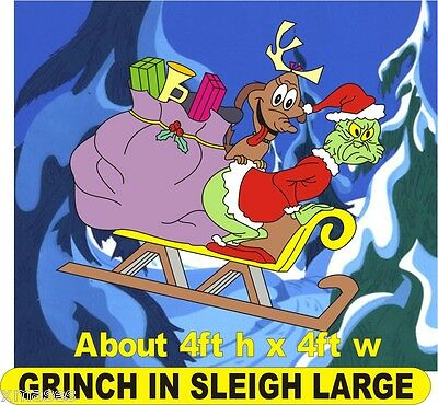 Grinch in sleigh stealing presents large christmas yard art pattern