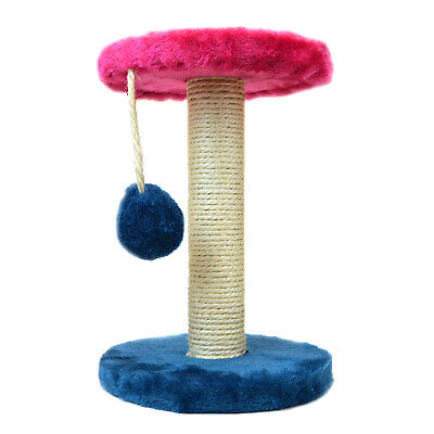 Cat Scratching Post With Hanging Ball Sisal Scratcher Play & Exercise Blue Pink