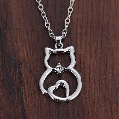 Women Silver Chain Cat Rhinestone Pendant Necklace Wedding Hallowmas Jewellery