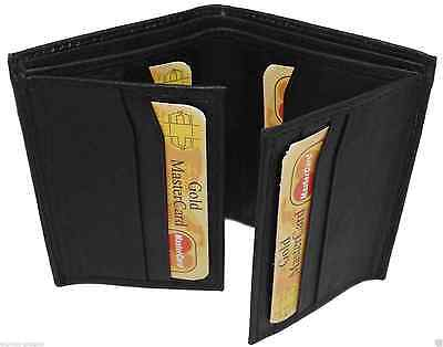 New Men's Soft Black Leather Wallet, Credit Card Holder, Coin Purse
