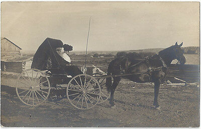 RPPC Old Couple in Horse Drawn Carriage Unposted with Inscription Early 1900's ?