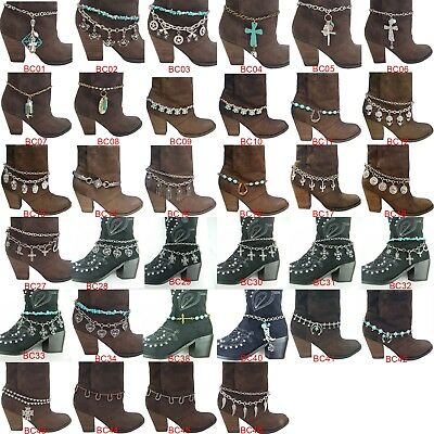 18 Varieties Women's Metal Western Boot Chain Anklet Bracelet with Charms BCH1