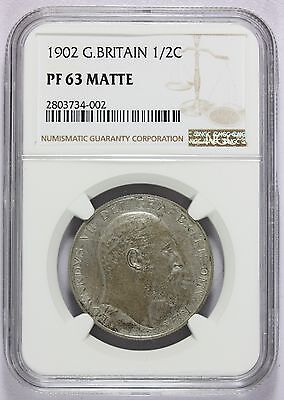 1902 Great Britain Silver 1/2 Half Crown PROOF Coin -  NGC PF 63 MATTE - KM# 802