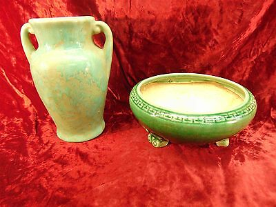 2 Vintage Art Craft Pottery Green Mottled VASE & Bonsai Butterfly Footed PLANTER