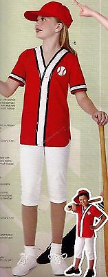 NEW  Ballgame DANCE COSTUME hat pants Baseball Shirt Ch/ladies Sequin trim red/w