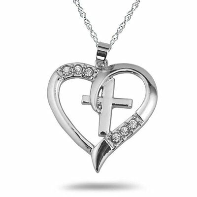 Men Women Rhinestone Cross Heart Silver Tone Chain Pendant Necklace Wedding Gift
