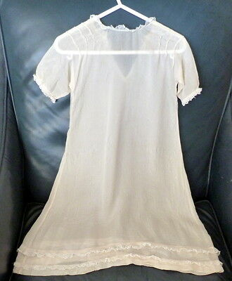 Antique Vintage Silk & Lace Baby Christening Gown Dress Long