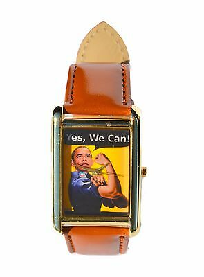 President Barack Obama YES WE CAN Theme Designer Watch with Band and Case