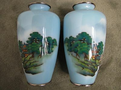 Pair of Vintage Japanese Hand-Painted Scenery Glass Vases.