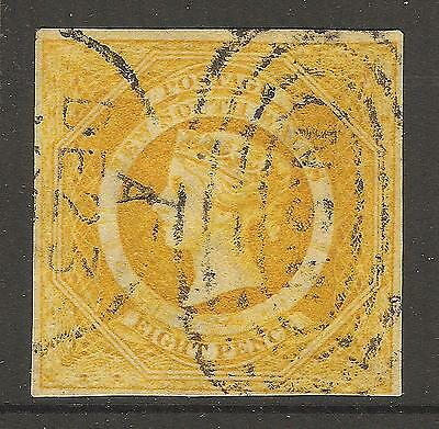 c. 1855 NSW New South Wales QV 8d Golden Yellow Imperforate Diadem Australia