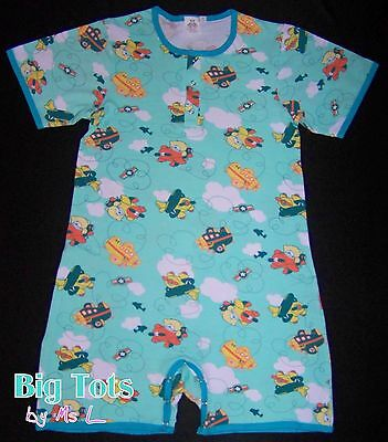 Adult Baby Airplane Teddy's romper,snap front snap crotch *Big Tots Exclusive*