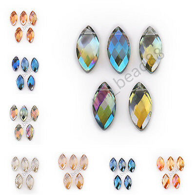 10pcs Charms Flat Teardrop Faceted Glass Crystal Pendant Spacer Beads 25x7mm
