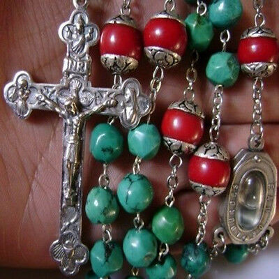 Turquoise Coral beads CATHOLIC Rosary Necklace 925 Sterling Silver 6CM Cross Box