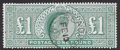 1902-10 (DLR) £1 Dull Blue-Green SG 266 - Very Fine Used with Reading CDS