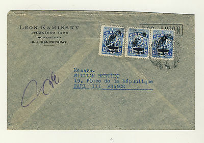 URUGUAY - 1949 3xMi737 12c AIR MAIL PROVISIONAL ON COVER MONTEVIDEO TO FRANCE