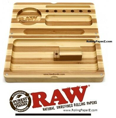 STRIPED RAW Rolling Papers Bamboo BACKFLIP Magnetic Rolling Tray Stash Box NEW