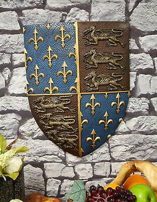 Large Medieval Knight Coat of Arms Fleur De Lis And 3 Dragons Shield Wall Decor