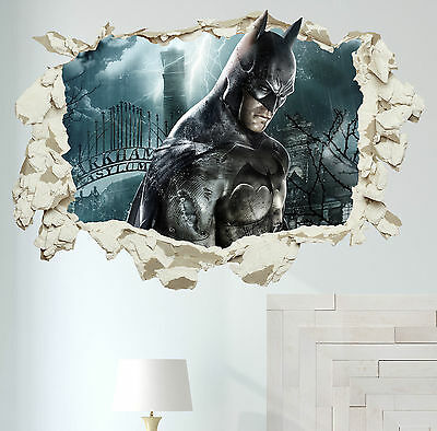 Batman in Wall Crack Kids Boy Bedroom Decal Art Sticker Gift Superheroes